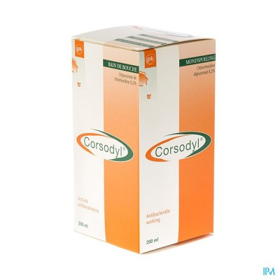 Corsodyl 2mg/ml Opl Mondwater 200ml